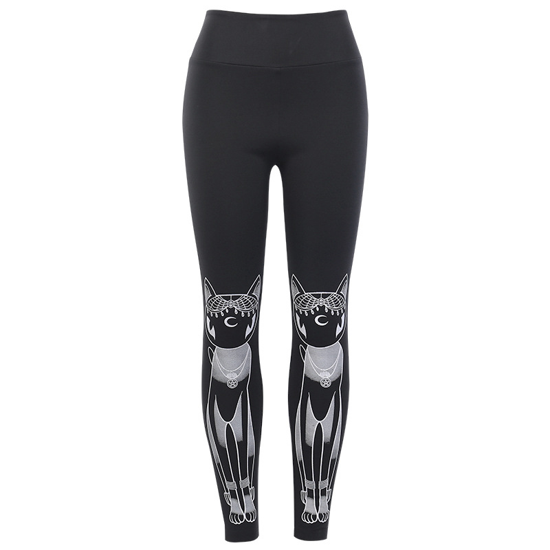 Gothic Sport Gym Leggings Women High Elastic Fitness Plus Size Ladies High Waist Legging Skinny Punk Print Cat Autumn Boot Pants