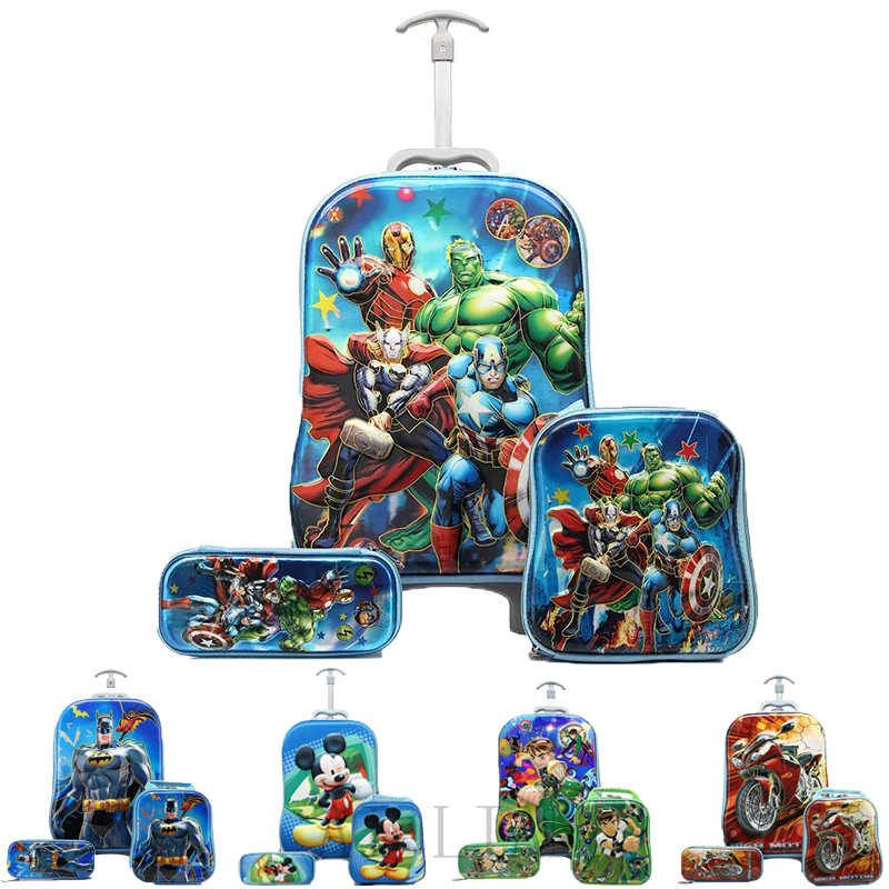 Boy Anime Trolley Case Kids Climb The Stairs Luggage Travel Rolling Suitcase Girl Cartoon Pull Rod Box Child Pencil Box school