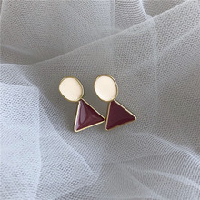 Fashion temperament contracted joker geometric stud earrings triangle circle drops of glaze earrings adorn article the new european and american fashion earrings contracted dazzle colour hollow out long wings ms popular earrings adorn article