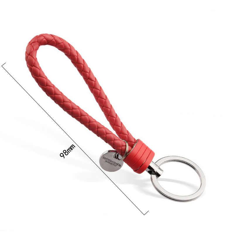 Tejido Multi-Color dos círculos llavero accesorios cuero regalo llavero correa de cuerda