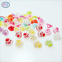 100pcs candy color small bear paw multicolour cartoon child plastic button childrens clothing sewing crafts 13mm A109