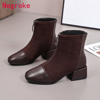 Fashion Women Boots Autumn Winter PU Leather Front Zipper Ankle Boots Pointed Toe Square Heel Woman Booties Zapatos De Mujer black ankle boots for women chunky boots high heel autumn winter pointed toe booties woman fashion zipper gray black boots 2019