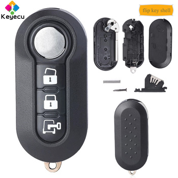 KEYECU Flip Remote Key Case Shell With 3 Buttons - FOB for Fiat 500L MPV Ducato, for Citroen Jumper, for Peugeot Boxer RX2TRF198 image