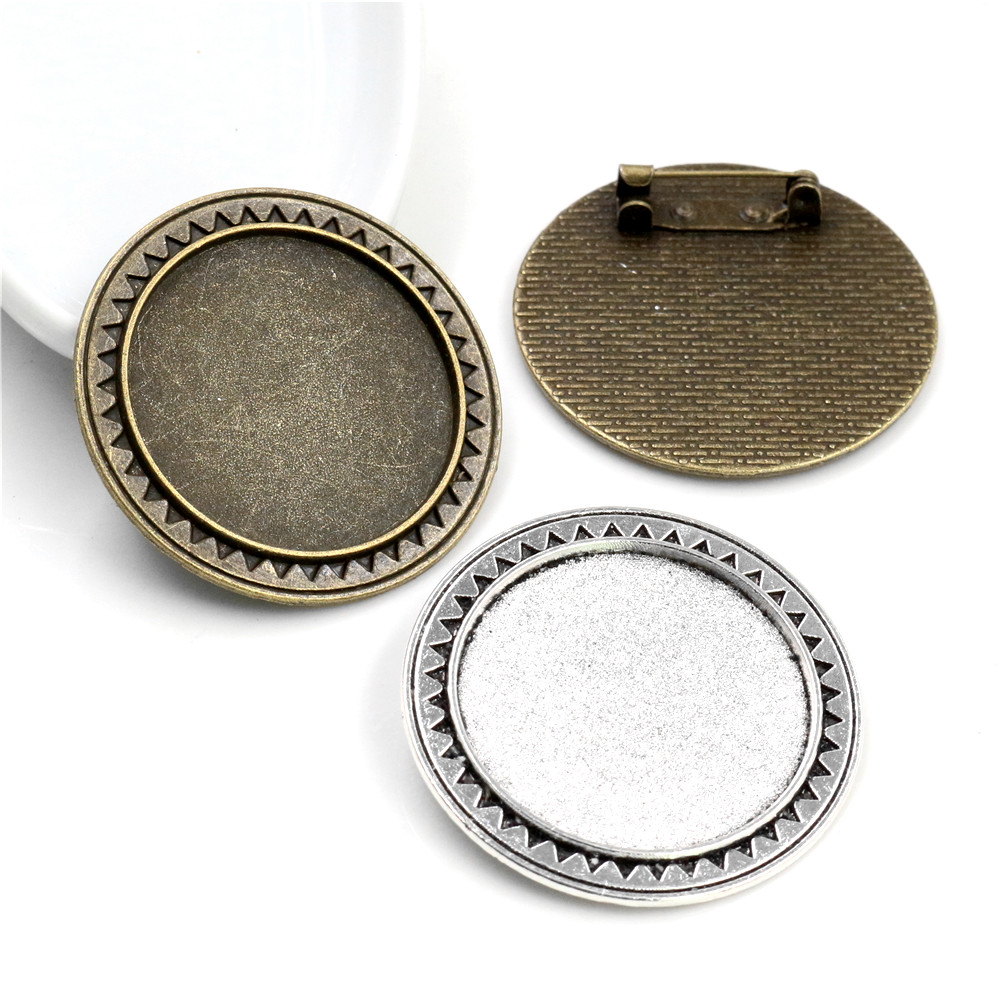 5pcs 30mm Inner Size Antique Silver Plated And Bronze Colors Plated Brooch Pin Classic Style Cabochon Base Setting