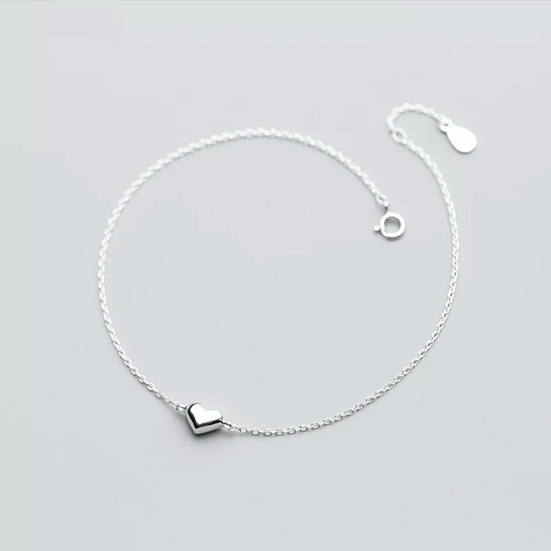 S925 Sterling Silver Color Romantic Small Heart Charm Anklets for Women Girl S925 Ankle Bracelet Adjustable Length Jewelry