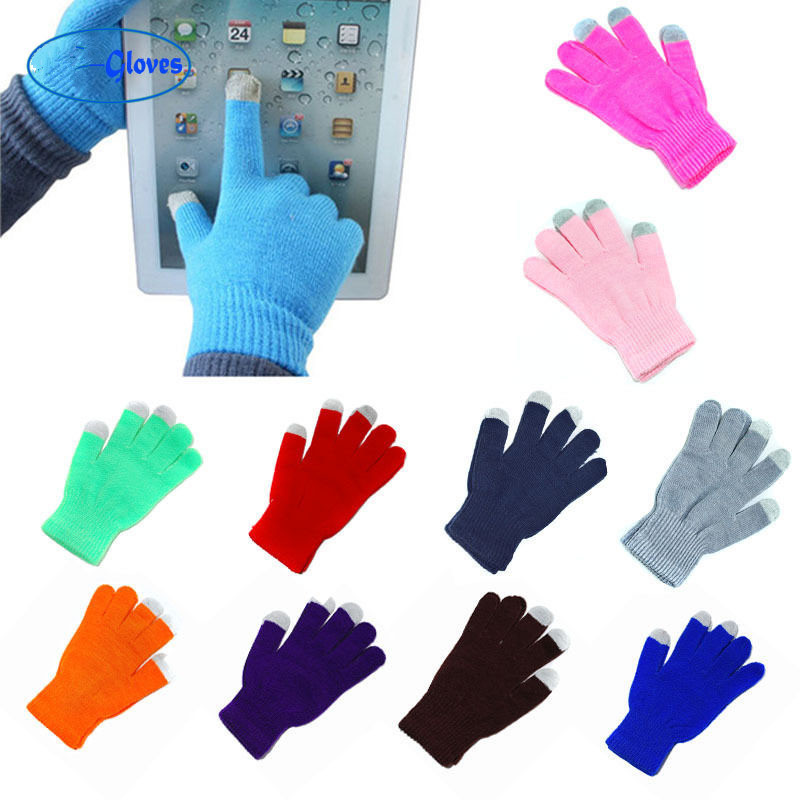 1Pair Unisex Winter Warm Capacitive Knit Gloves Hand Warmer For Touch Screen Smart Phone Female Gloves 2019 Fingerless Gloves