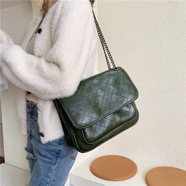 Vintage Fashion Female Tote bag 2019 New High Quality PU Leather Women's Designer Handbag Lattice Chain Shoulder Messenger Bag