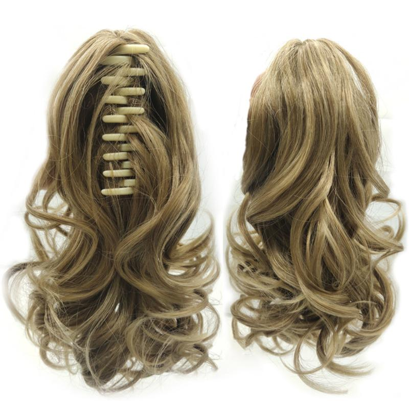 40cm Ponytail Wig Bounce Clip Type Long Curl Ladies Extension Bristle False Hair Synthetic Wigs For Women European