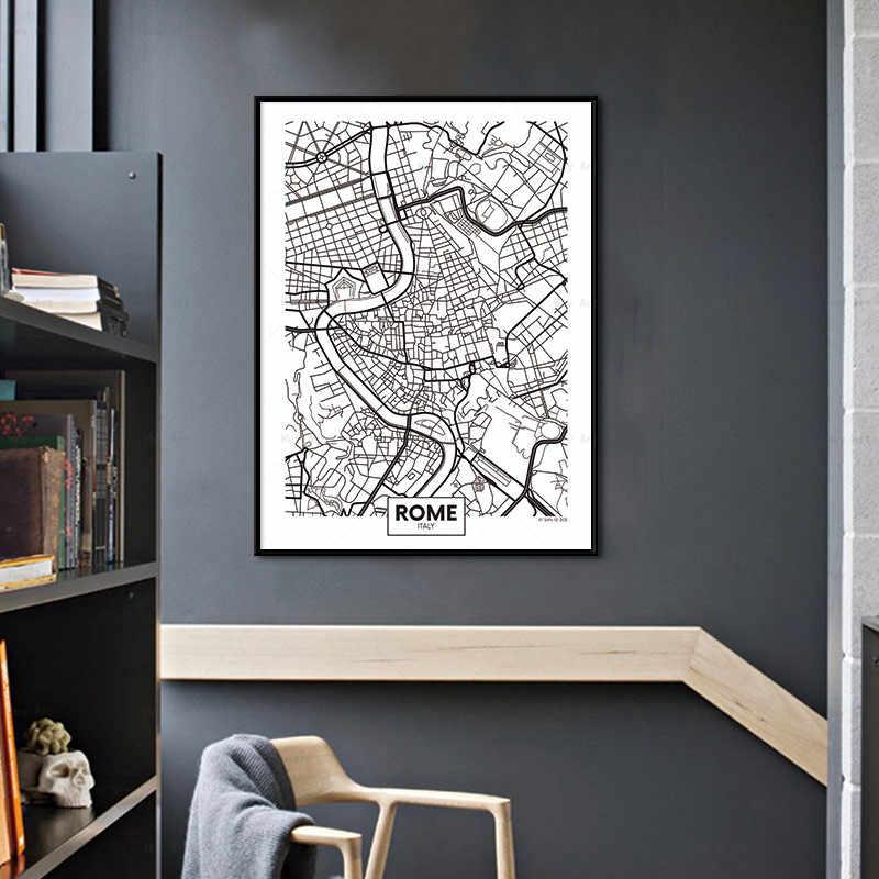 ミラノ belgrade ローマブカレスト黒、白市内地図ポスターキャンバスプリント絵画写真北欧スタイルウォールアートホームデコレーション