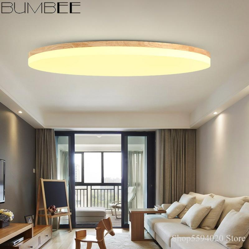 Nordic Ultra-thin LED Ceiling Lamp Round Simple Modern Ceiling Lights Bedroom Living Room Lamp Japanese Wood Balcony Study Lamp