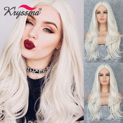 Kryssma Platinum Blonde Wig Long Wavy Synthetic Wigs For Women Natural Wig Ash Blonde Cosplay Wigs Heat Resistant Fiber Hair Wig