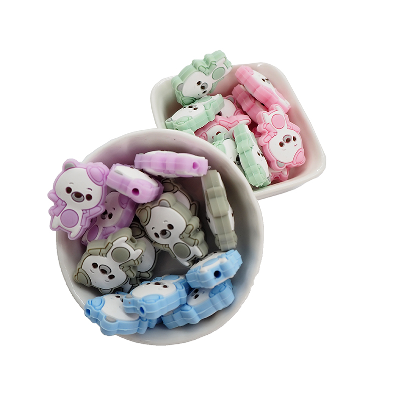Chenkai 10PCS BPA Free Silicone Dancing Bear Beads Animal Loose Beads For DIY Baby Nursing Pacifier Necklace Gift Accessories