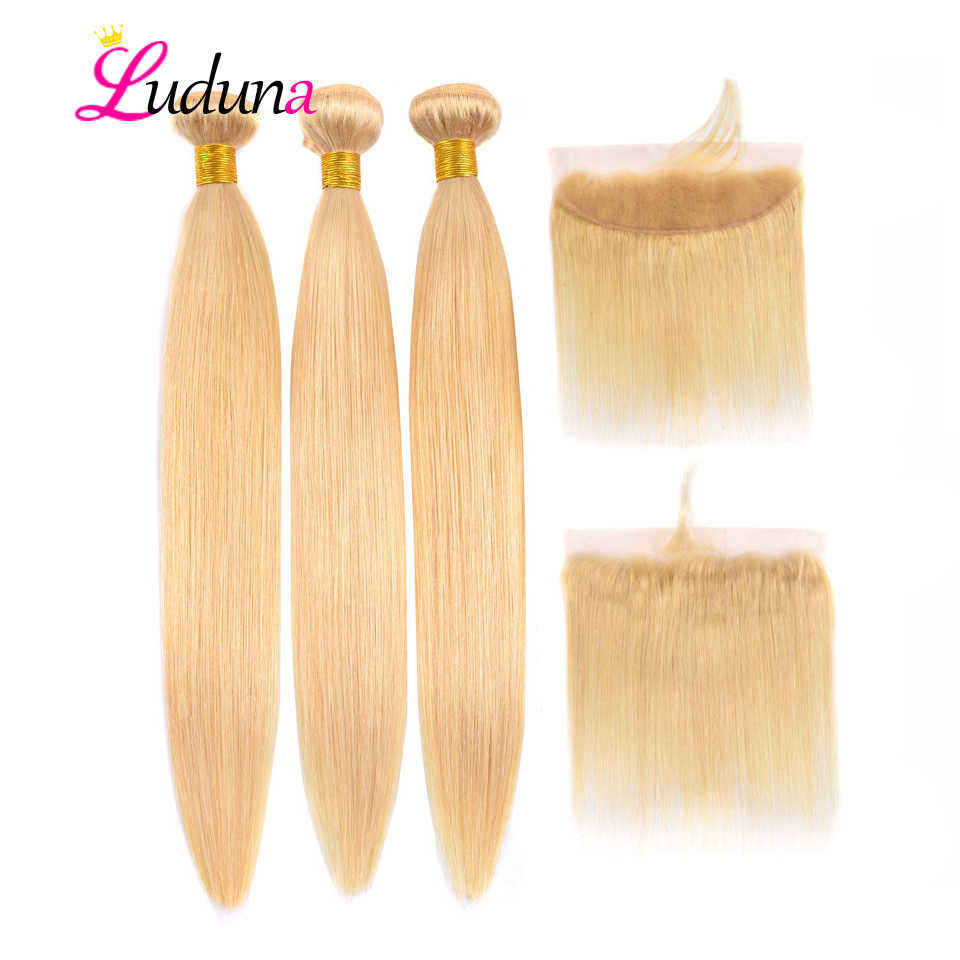 Luduna 613 Blonde Hair 3 Bundles With Frontal Brazilian Straight Human Hair Bundles With Closure 13*4 Remy Hair Extensions