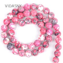 Rose Red Flower Stone Natural Gem Round Loose Beads For Jewelry Making 4mm-12mm Spacer Diy Bracelet Accessories 15inch