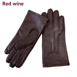 Image 5 - Deerskin gloves womens thin wool lining hand stitched autumn warm outdoor travel black ladies driving leather gloves
