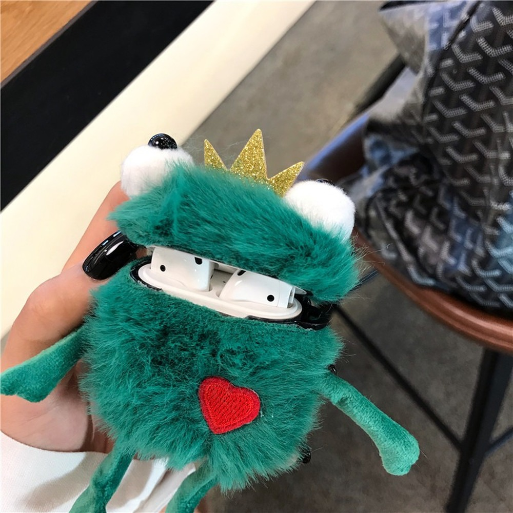 Cute Cartoon Plush Frog Prince Patterned Headphone Case For Apple Airpods 1/2 Funny Winter Warm Fluffy Protection Earphone Cover