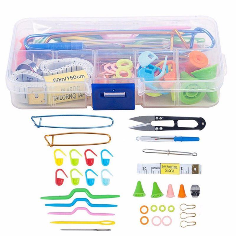 DIY Craft Knitting Needles Tools Set Crochet Hooks Clip Stitch Markers Scissors