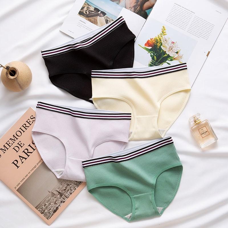 Panties women cotton female elastic breathable underwear ladies sexy lingerie gril underpants solid color briefs women's panty