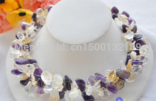 "j00496 3row 18"" nature Amethyst citrine clean crystal Gravel NECKLACE(China)"