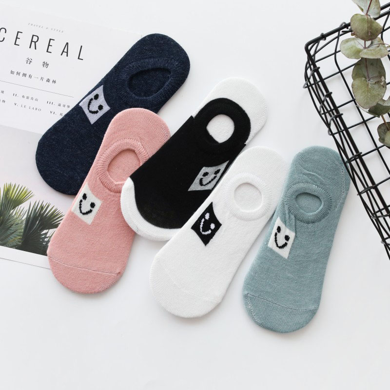 5 Pairs/lot Women Socks Smile Face Cartoon Pattern Boat Sock For Summer Breathable Casual Girls Funny Fashion Sock Slippers