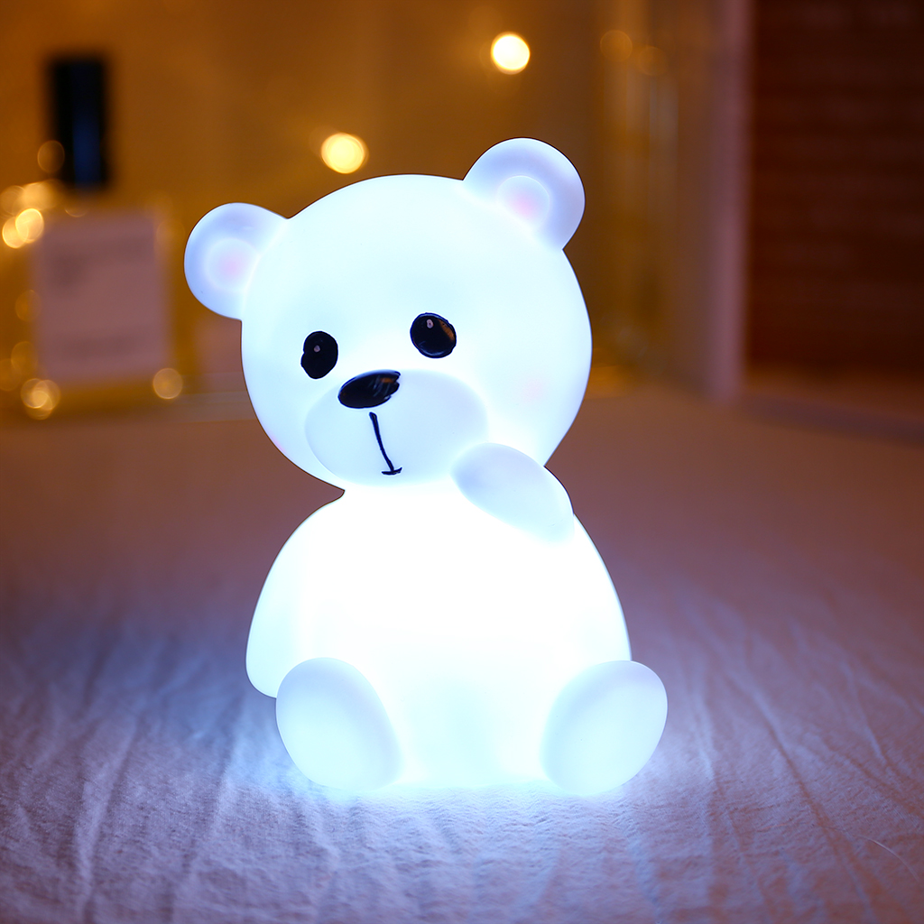 Soft Silicone Bear Lamp Kids Toys Cute LED Cartoon Animals Bedroom Decoration Eye Protection Mini Portable Sleep Night Light