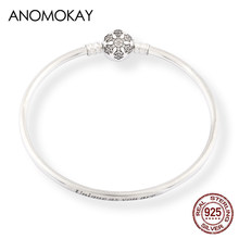 Anomokay 925 Sterling Silver Snowflake Clasp Bangles Bracelets for Women Men Couple Unique Words S925 Silver Bangles Jewelry(China)