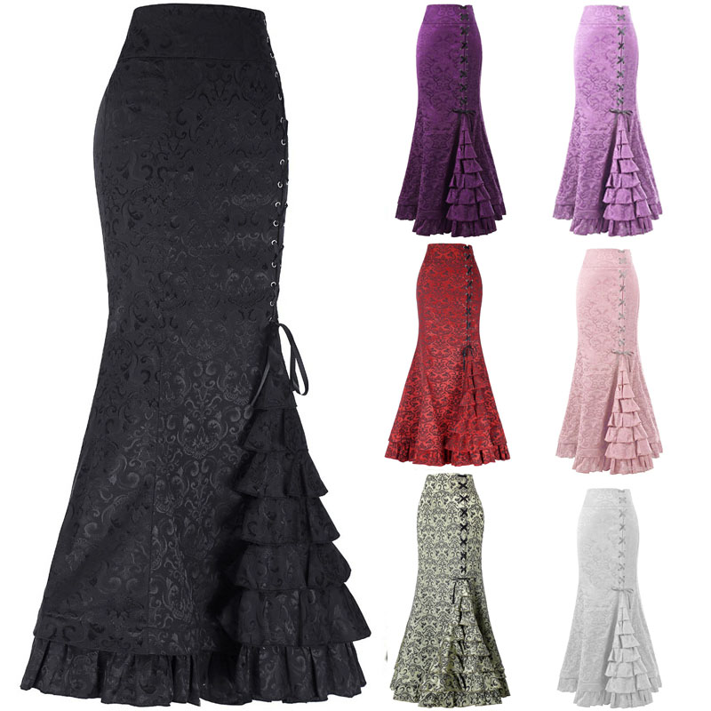Hot Sells  Floral Print Skirt Vintage Floral Long Skirts Women Autumn Winter Elegant Beach Maxi skirt High Waist Half Skirts