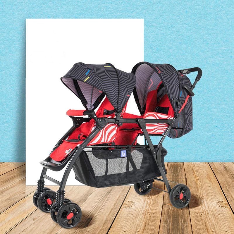 2019 New Twin Baby Stroller Can Sit on A Reclining Four-wheeled Cart Lightweight Baby Carriage Infant Car Twin Double Stroller