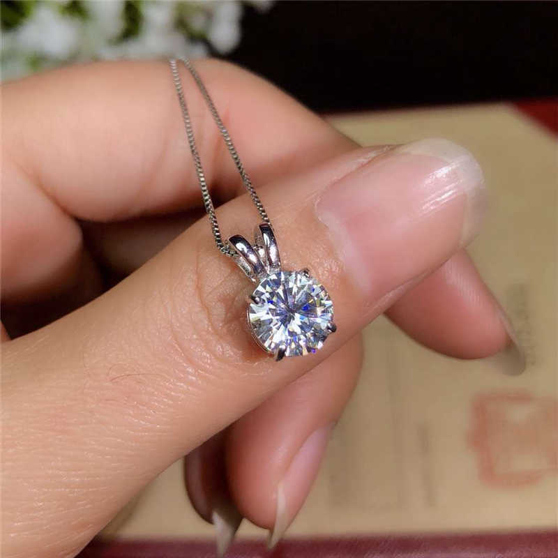 Yanhui Solitaire 8 Mm 2ct Zirkonia Diamond Liontin Kalung 925 Perak Padat Kalung Pernyataan Kalung Wanita Perak 925 Perhiasan