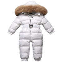 baby onesie down coat fur hooded thick white duck snow wear for 9 24month babies newborn toddler Winter down jacket outerwear