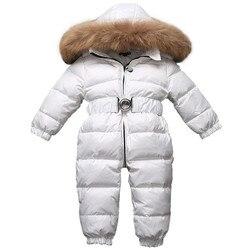 Pelele de plumón con capucha de piel gruesa de pato blanco ropa de nieve para bebés de 9-24 meses recién nacidos de invierno chaqueta de plumón ropa de abrigo