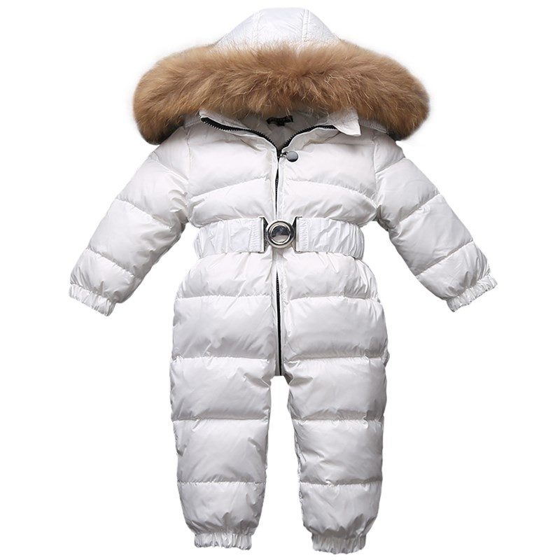Baby Onesie Down Coat Fur Hooded Thick White Duck Snow Wear For 9-24month Babies Newborn Toddler Winter Down Jacket Outerwear