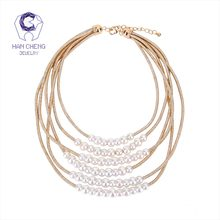 HanCheng New Fashion Golden Rope Multilayer Beaded Pearl Choker Necklace Women Necklaces Statement collar jewelry bijoux(China)