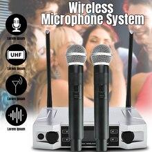 Профессиональный UHF беспроводной караоке микрофон системы ЖК-дисплей+ двойной ручной микрофон для дома вечерние KTV