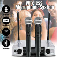 Professional UHF Wireless Karaoke Microphone System LCD Display + Dual Handheld Mic for Home Party KTV
