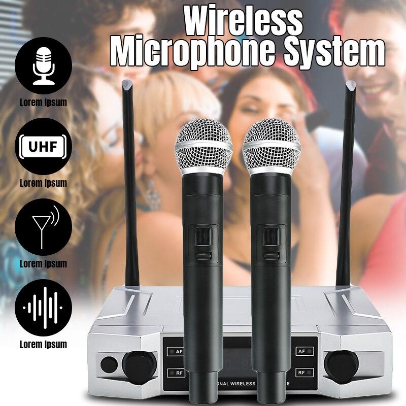 Système de Microphone karaoké sans fil UHF professionnel écran LCD + double micro portable pour la fête à la maison KTV