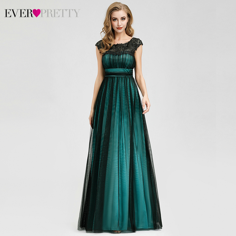 Elegant Dark Green Prom Dresses Long Ever Pretty A-Line O-Neck Appliques Tulle Evening Party Gowns Robe De Soiree Femme 2020