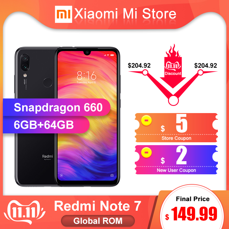 En Stock ROM globale Xiaomi Redmi Note 7 6GB RAM 64GB ROM Smartphone Snapdragon 660 6.3 écran 48MP caméra arrière 4000mAh batterie