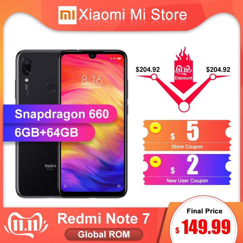 In Lager Globale ROM Xiaomi Redmi Hinweis 7 6GB RAM 64GB ROM Smartphone Snapdragon 660 6,3 Bildschirm 48MP Hinten Kamera 4000mAh Batterie