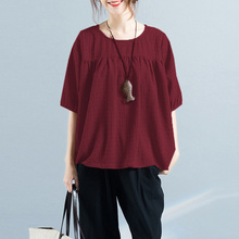 Fashion Plus Size Linen Blouses For Ladies Summer Autumn Half Sleeve Solid Women Tops And Casual Large Lady Blusas