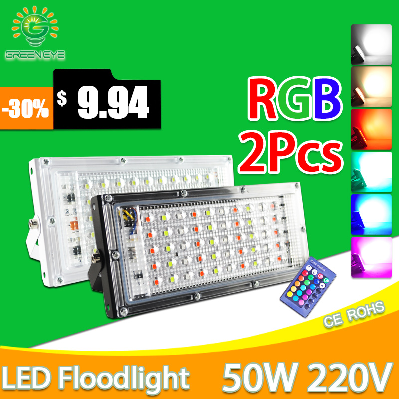2pcs LED Flood Light 50W RGB Led Floodlight Remote Control COB Chip LED Street Lamp AC220V 240V Waterproof IP65 Outdoor Lighting