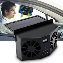 Solar Powered Car Cooler Front/Rear Window Radiator Exhaust Fan Auto Air Vent Fan Ventilation Radiator Cooling System(China)