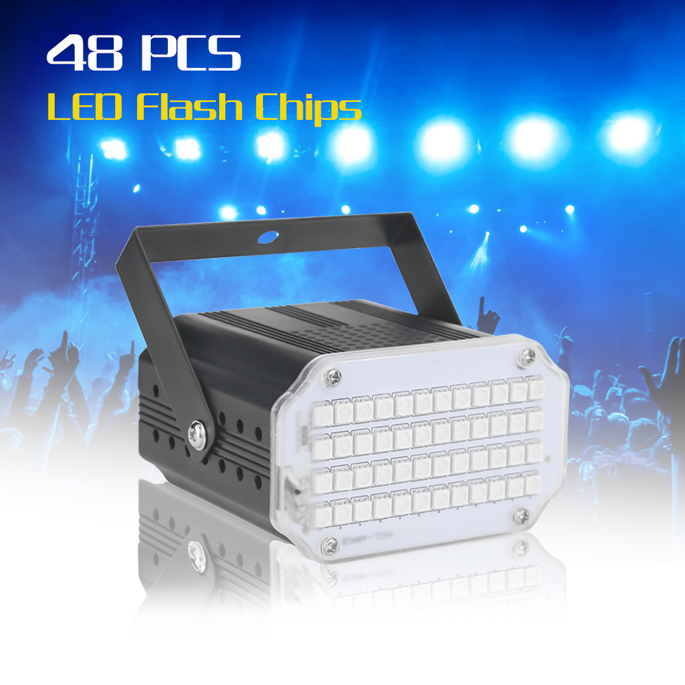 Mini Led Disco Light 48 LED RGB UV White Strobe Light Music Sound Activated Flash Stage Light Christmas Decorations For Home