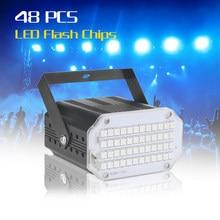 Mini luz de discoteca led com 48 leds, luz estroboscópica branca uv para decoração de natal, luz de palco com som ativado por música casa casa