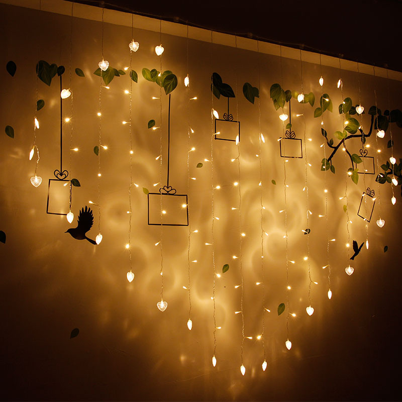 RTGBRT 2Mx 1.5M 128 LED Heart Curtain Lights Garland String Lights Wedding Romantic Decoration Lamps Party Holiday Fairy Light