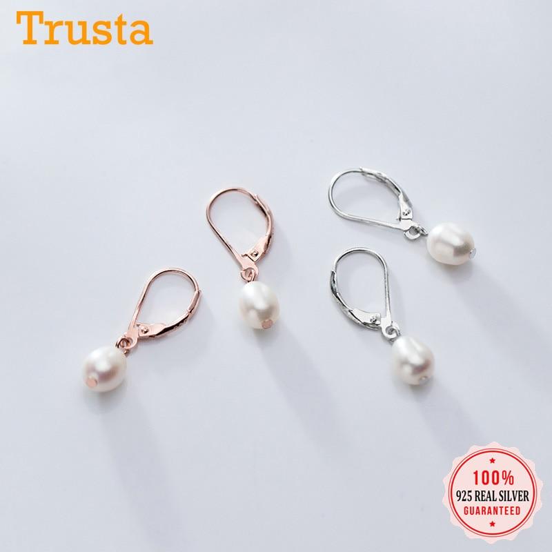 Trusta réel 925 argent Sterling doux elliptique perle cerceau boucle d'oreille pour les femmes de mariage argent 925 bijoux cadeau DS1888