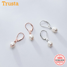 Trusta Real 925 Sterling Silver Sweet Elliptic Pearl Hoop Earring For Women Wedding Silver 925 Jewelry Gift DS1888