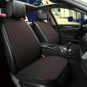 Image 2 - להתחמם בחורף מכונית פשתן מושב כיסוי מגן קדמי או אחורי מושב כרית כרית כרית חזרה אביזרי רכב מתאים עבור כל