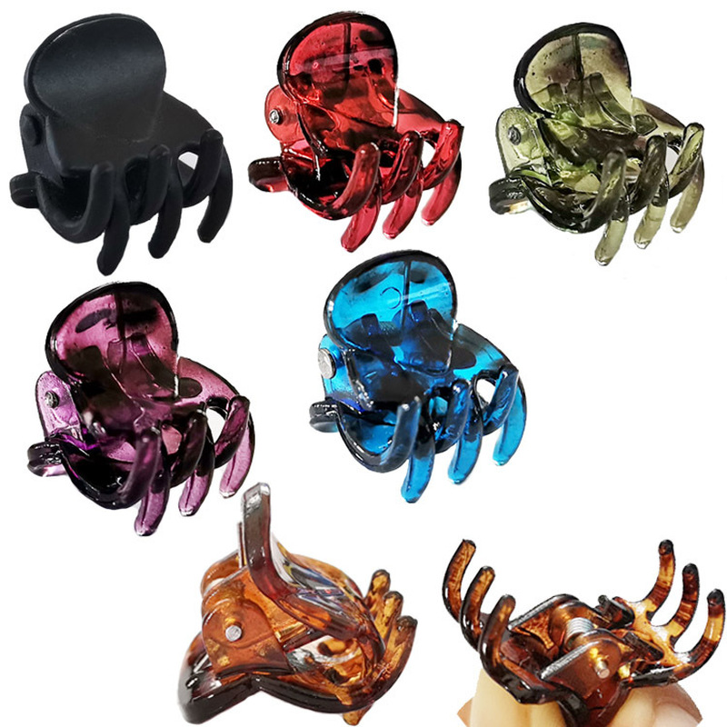 12PCS Plastic Mini Hair Clip 6 Claw Cute Hair Clips Plastic Black Hairpin Clamp For Ladies Headwear Hair Styling Tools