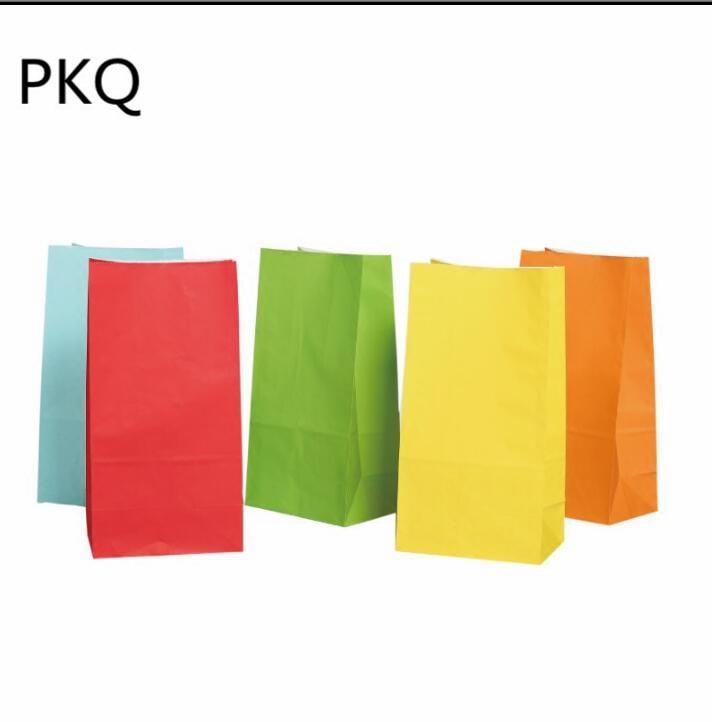 50pcs 13*8*24cm Kraft papier emballage cadeau pochette de qualité alimentaire emballage papier sac pour fête mariage faveur Biscuit sac - 2